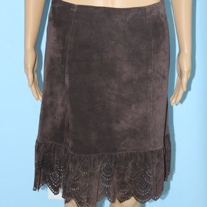 Elevenses Brown Leather Skirt Size 0